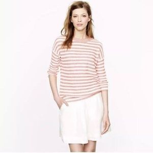 J Crew Coral Striped Linen Sweater Heather, sz M